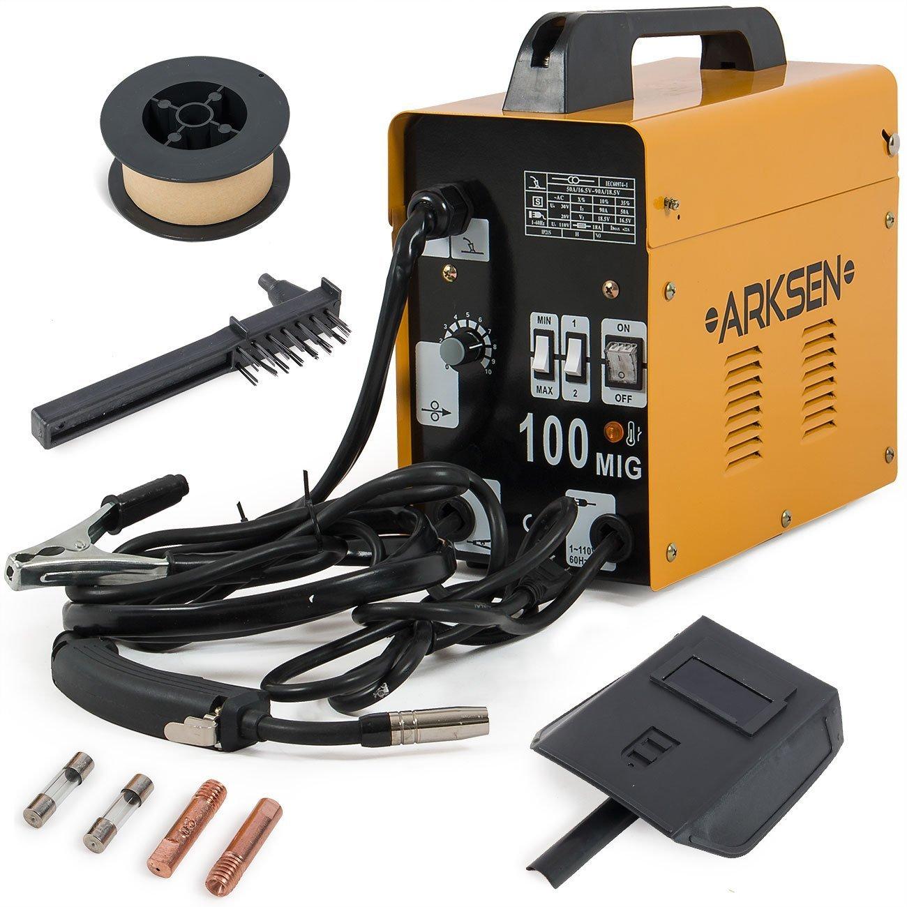 ARKSEN MIG-100 Gas-Less Flux Core Welder, 90AMP, 110v (Automatic ...