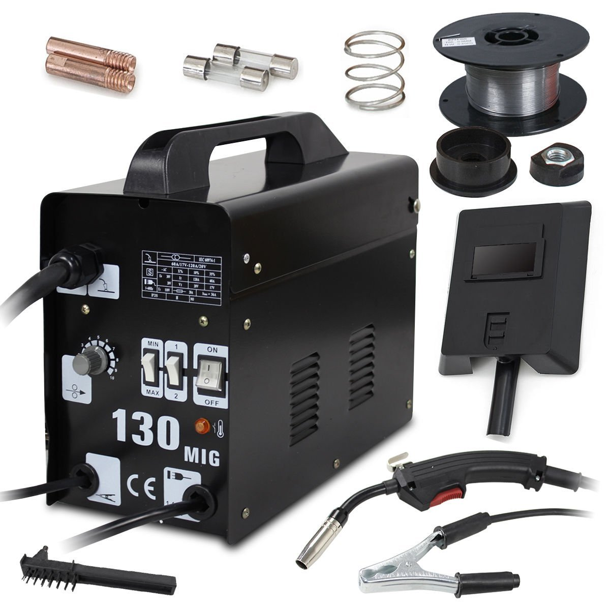 Super Deal Black Commercial MIG 130 AC Flux Core Welding Machine