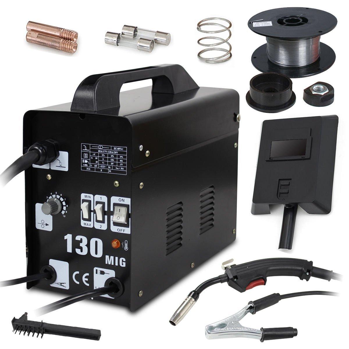 Super Deal Black Commercial MIG 130 AC Flux Core Welding Machine