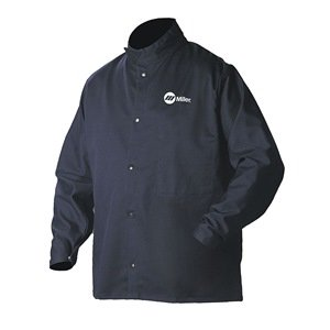 Welding Jacket, Navy, Cotton/Nylon, XL