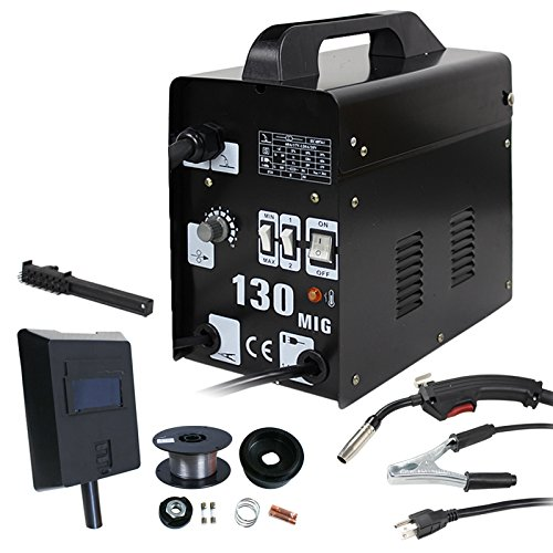 Smartxchoices MIG130 Gas-Less Automatic Feed Flux Core Wire Welding Machine w/Free Mask (Black,110V)