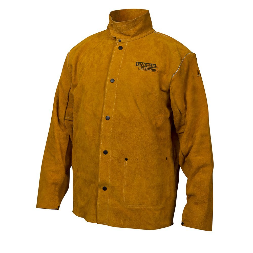 Lincoln Electric Brown Flame-Resistant Heavy Duty Leather Welding Jacket