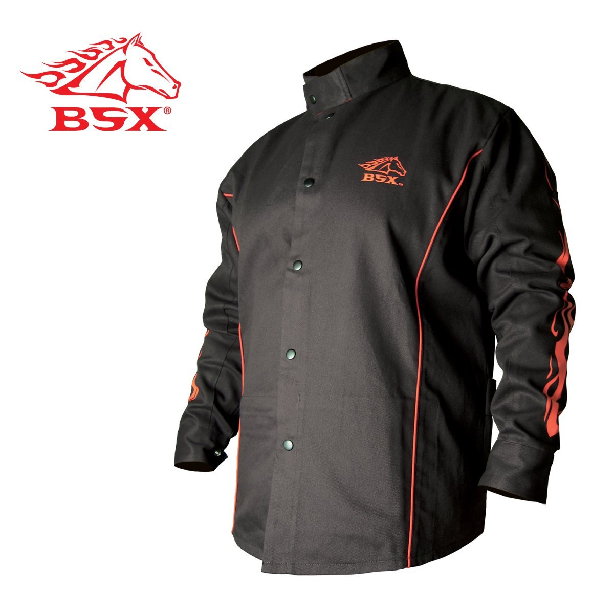 BLACK STALLION BSX® FR Welding Jacket - Black w/Red Flames – MEDIUM
