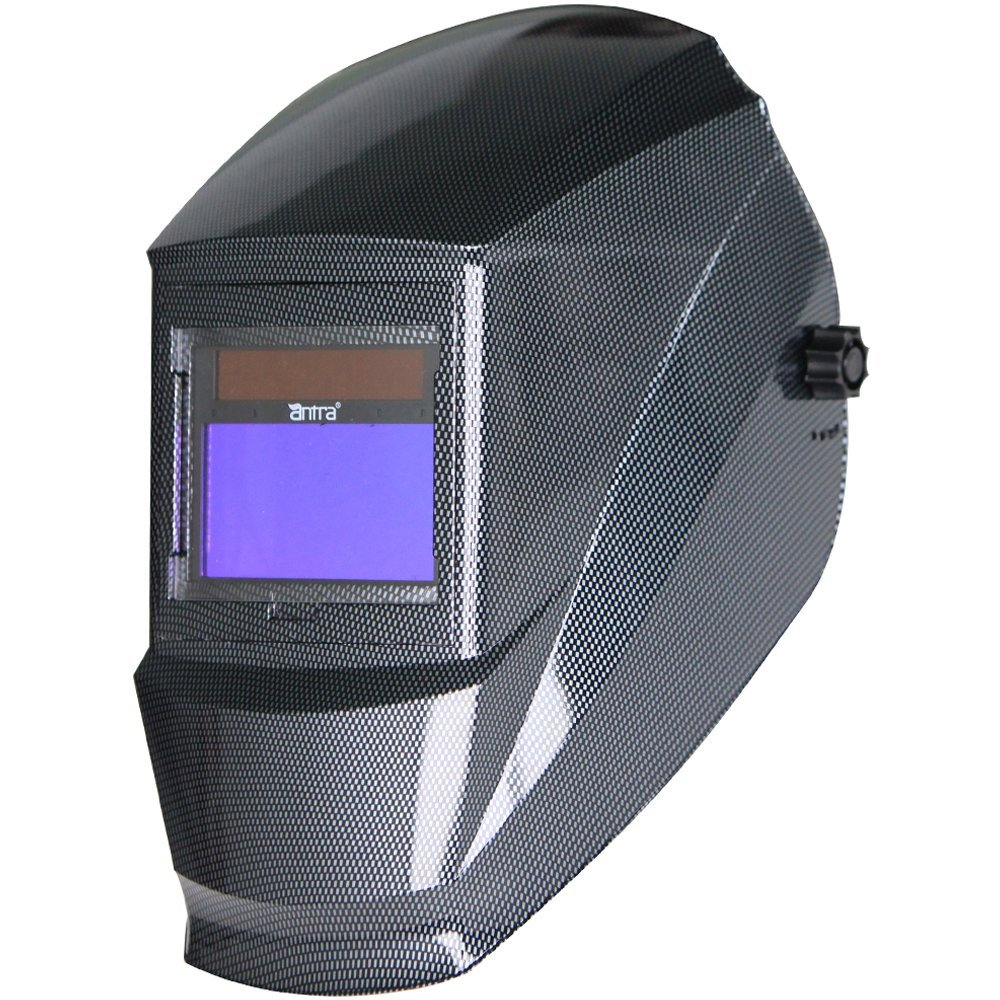 Antra AH6-360-001X Solar Power Auto Darkening Welding Helmet with AntFi X60-3 Wide Shade Range 4/5-9/9-13 with Grinding Feature Extra lens covers Good for TIG MIG MMA Plasma