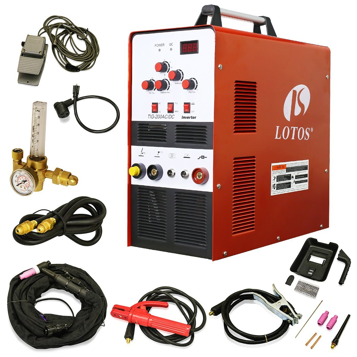 LOTOS TIG200 200A AC/DC Aluminum Tig/Stick Welder Square Wave Inverter with Pedal and Mask