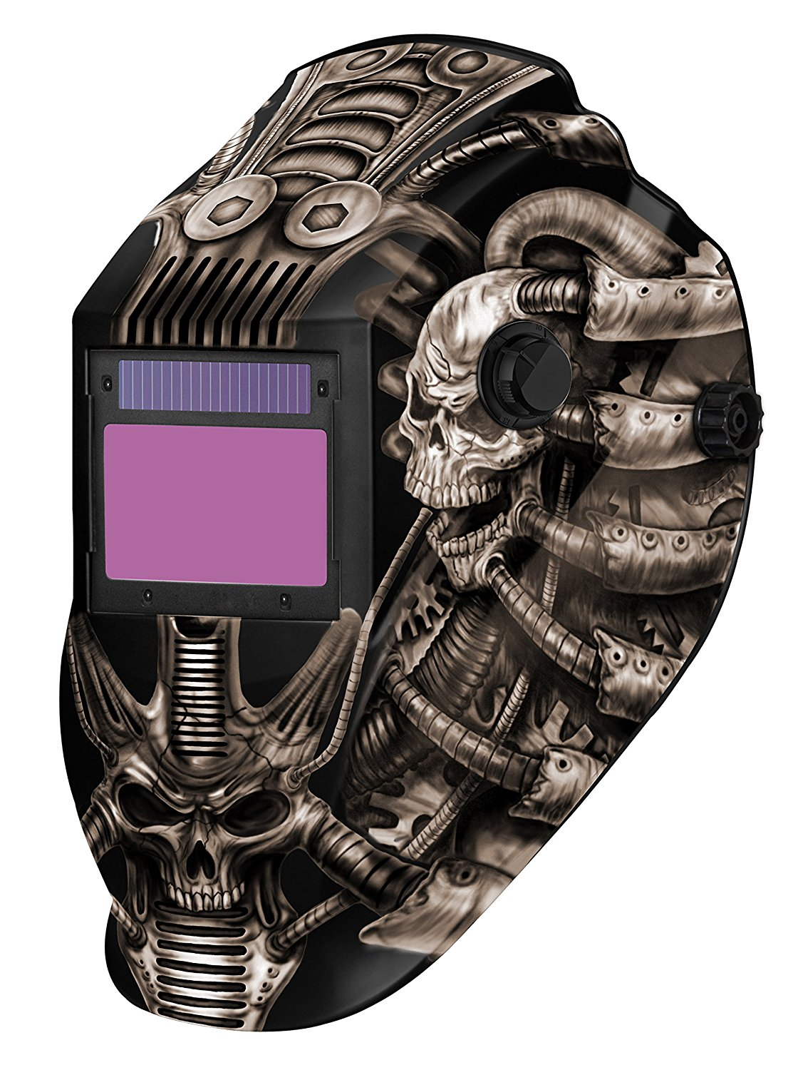 Metal Man ATEC8735SGC 9-13 Variable Shade Professional Auto-Darkening Welding Helmet, Techno Skull