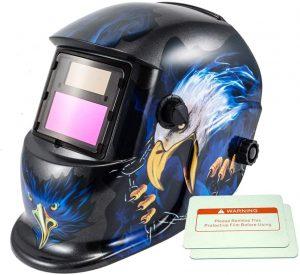 iMeshbean Auto Darkening Welding Helmet Solar Powered Hood Mask