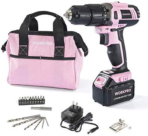 WORKPRO Pink Cordless 20V Lithium-ion