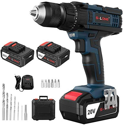 Cordless Drill with 2×3000mAh Batteries