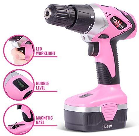 Pink Power 18V Cordless Drill
