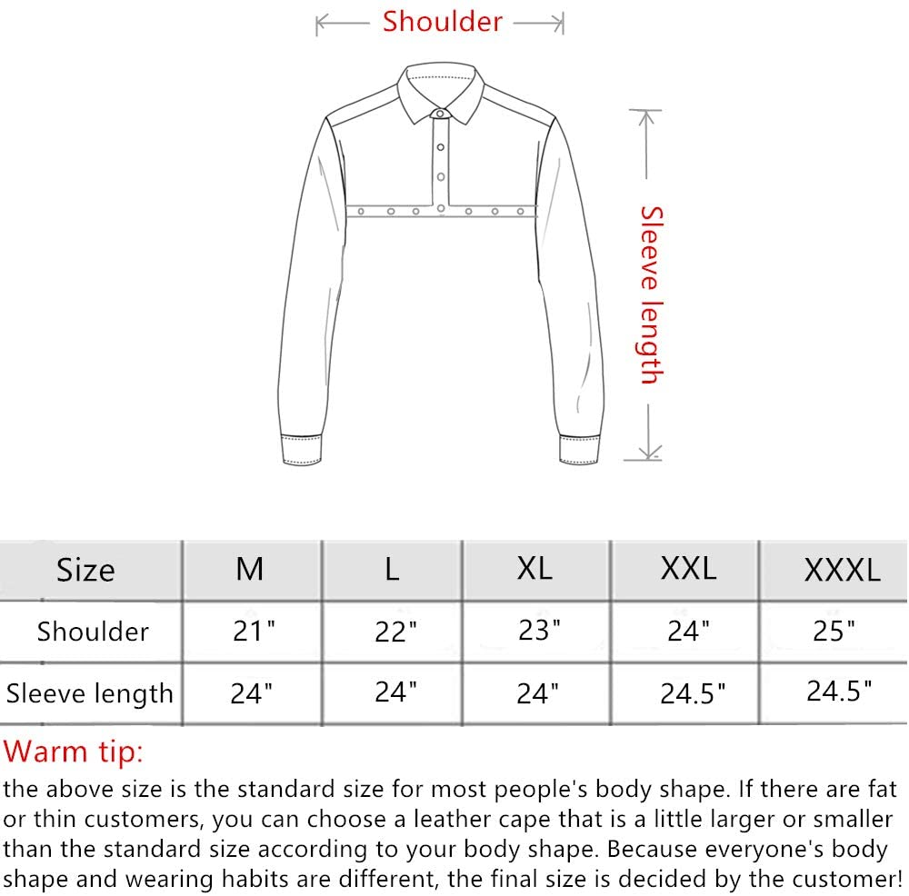 Eulangde leather welding cape sleeves size chart