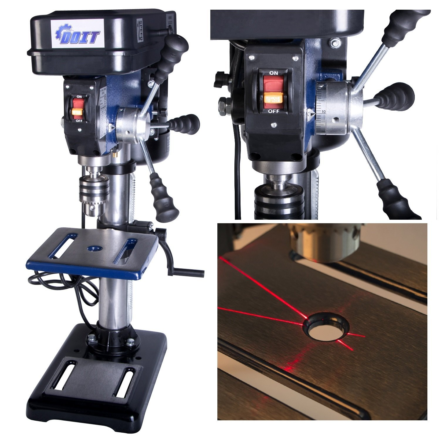 Doitpower 10-Inch 12 Speed Drill Press with Laser Trac (10-Inch 12 Speed Drill Press with Laser)
